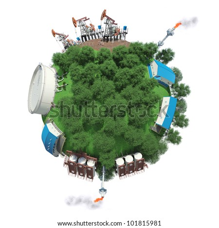 Objects of oil production and processing on a small planet - stock photo