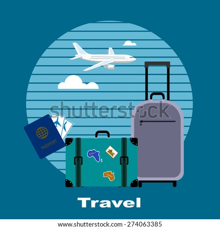 Objects of tourism and travelings, flat style. - stock photo
