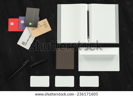 Objects on wood background. Mockup business template. High resolution.