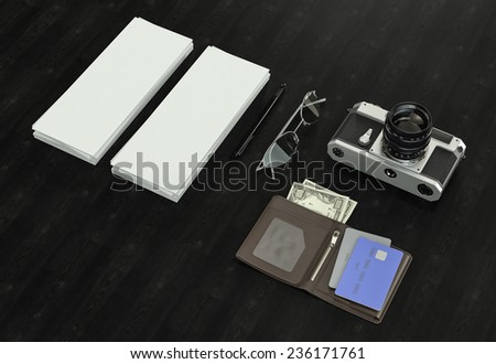 Objects on wood background. Mockup business template. High resolution. - stock photo