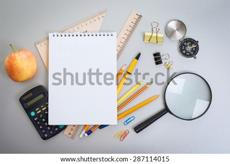 Objects schoolboy on the table - stock photo