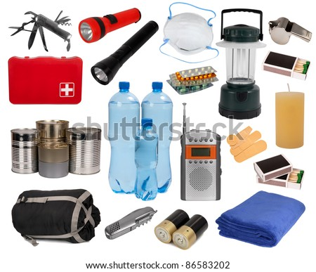 Objects useful in an emergency situation isolated on white - stock photo