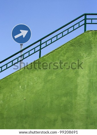 obligatory sign and stairs - stock photo