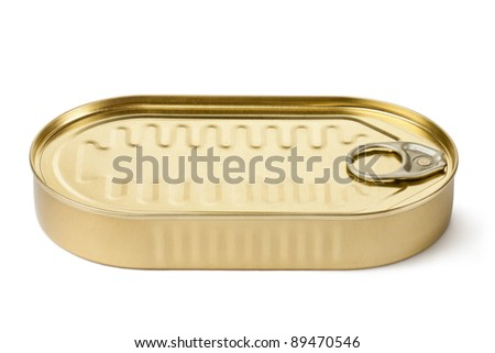 Oblong can with key. Isolated on a white. - stock photo
