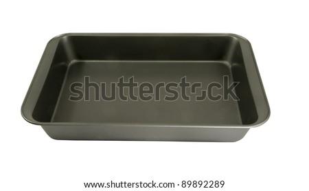 oblong non-stick cake pan on a white background - stock photo