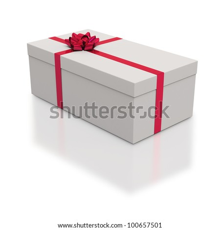 Oblong white gift box with red ribbons on white background