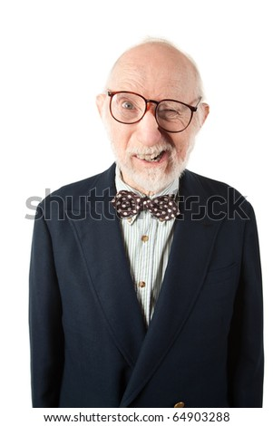 Obnoxious Senior Man with Bow Tie on White Background - stock photo