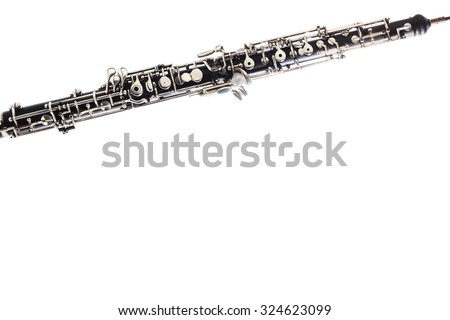 Oboe Musical instrument isolated on white background close up Orchestra instruments - stock photo