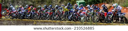 OBORNIKI, POLAND - AUGUST 10 : riders on Polish Western Zone Motocross Championship Round VII Poland, Oborniki 10 August 2014 - stock photo