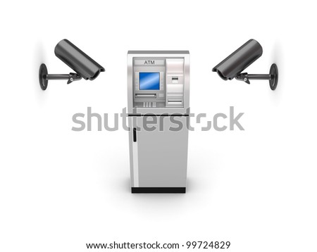 Observation cameras and ATM.Isolated on white background.3d rendered. - stock photo