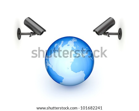 Observation cameras and big globe.Isolated on white background.3d rendered. - stock photo