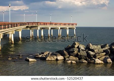 observation pier , center islands , sites of toronto - stock photo