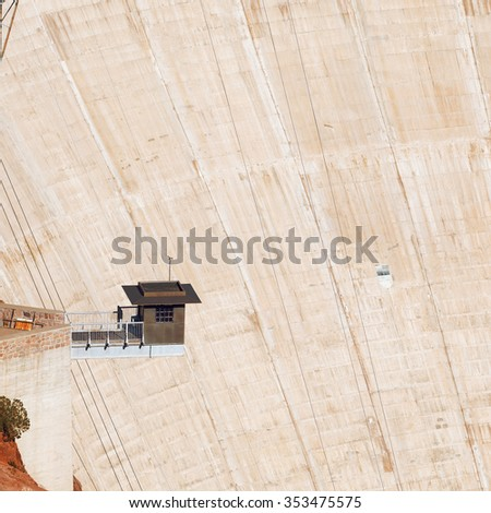 Observation post on the Hoover Dam. Security post at Hoover Dam overlooking at the dam. - stock photo