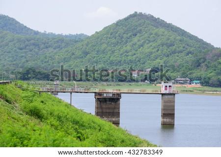Observation station in reservoir - stock photo