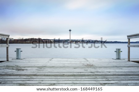 Observation Tower and jetty in Tampere, Finland