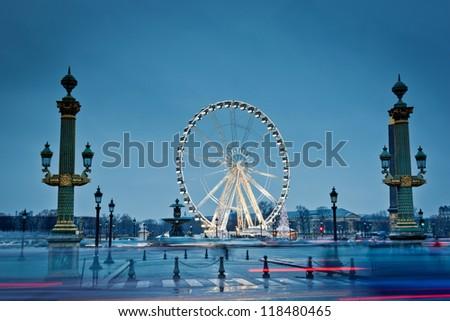 Observation wheel. Place de la Concorde at night. - stock photo