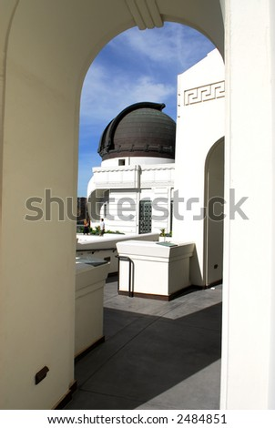Observatory Dome Viewed Through Archway - stock photo