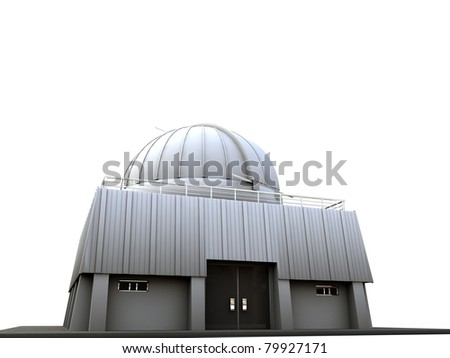 observatory isolated on white background - stock photo