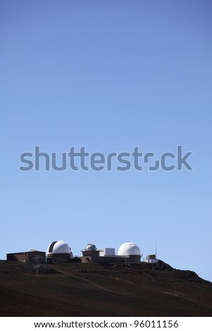 observatory on the Haleakala summit - stock photo
