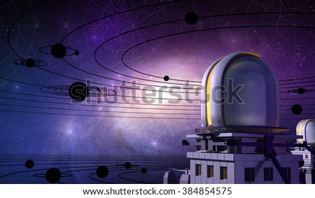 Observatory, Planets and Galaxy - stock photo