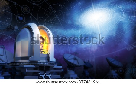 Observatory, Sky Maps and Galaxy - stock photo