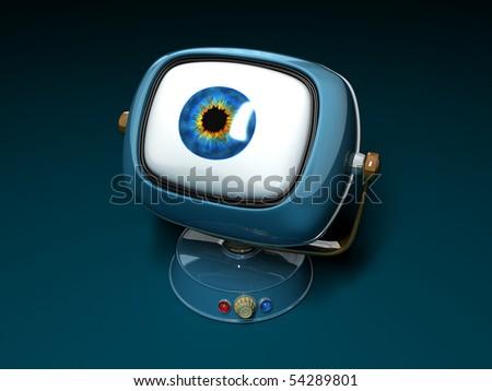 Observer Stylish retro TV. Retro revival - stock photo