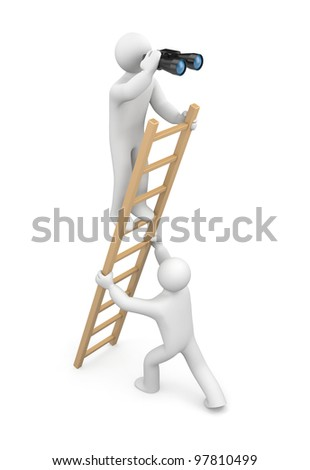 Observer. Teamwork. Image contain clipping path - stock photo