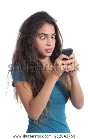 Obsessed crazy teenager girl with the mobile phone technology isolated on a white background - stock photo