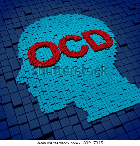 Obsessive compulsive disorder or OCD medical concept as a human head and letters made of organized cubes as a symbol of anxiety symptoms and compulsive psychological behavior issues. - stock photo