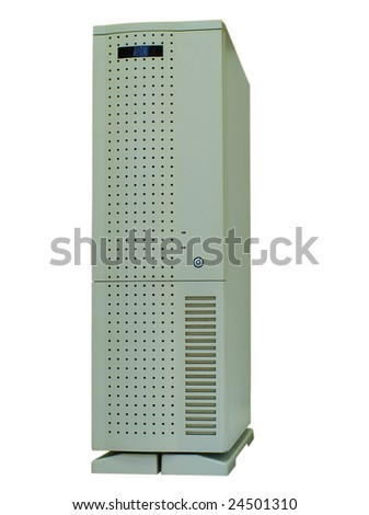 Obsolete big dirty computer tower, isolated on white - stock photo