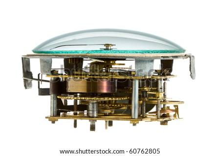 Obsolete clockwork isolated on white background - stock photo