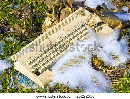 obsolete computer - stock photo