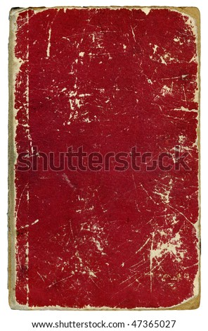 Obsolete dirty scuffed book cover isolated over white - stock photo