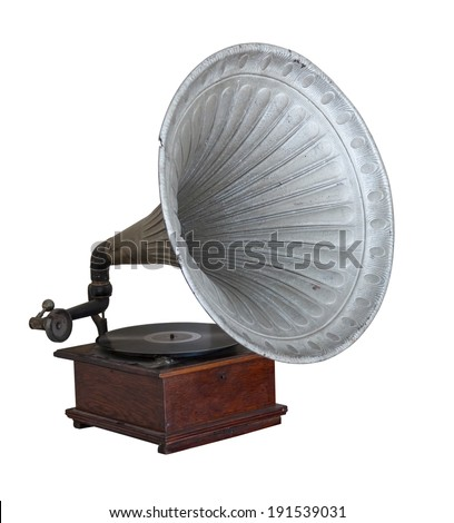 Obsolete old gramophone isolated on white background