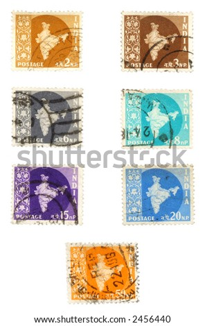 Obsolete postage stamps from India. Old collectible post stamps show geography of India as British colony.