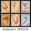 Obsolete Soviet gymnastics stamps (1979 Olympics series) - stock photo
