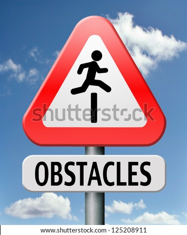obstacle ahead caution for danger take the challenge avoid and overcome the problem prepare for difficult and avoiding hard times jump the hurdles or obstacles - stock photo