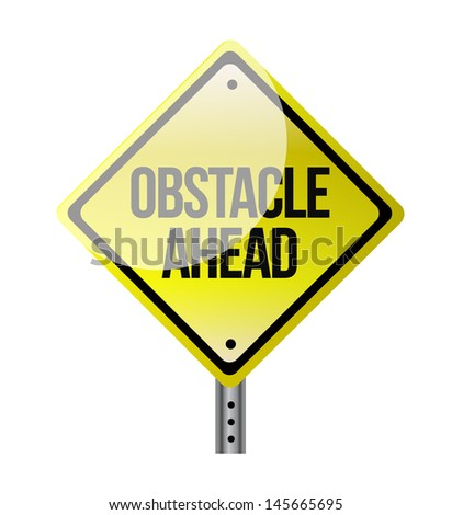 obstacle ahead yellow road sign illustration design over white - stock photo
