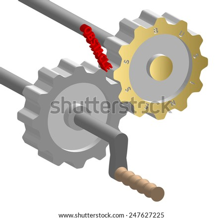 Obstacle in business mechanism, abstract illustration - stock photo