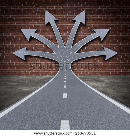 Obstacle solution direction business concept as a road facing a brick wall transforming into a group of arrow paths to overcome the adversity as a do not give up as a persistent motivational symbol. - stock photo