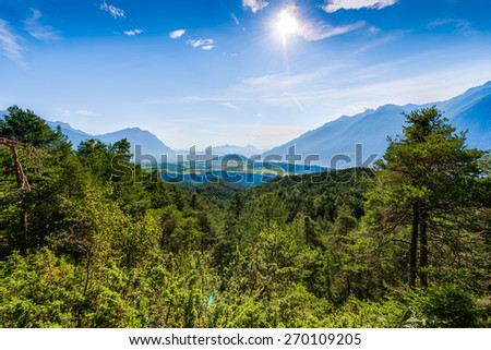 Obsteig, a municipality in the Imst district located 15 km northeast of Imst and 3 km above Motz in Sonnenplateau, western Innsbruck, Austria - stock photo