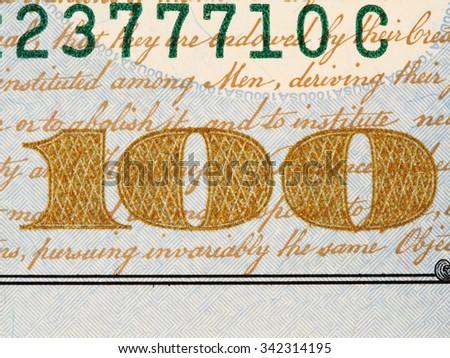 Obverse of US one hundred dollar bill macro, 100 usd banknote, united states money closeup - stock photo