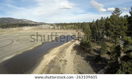 Obvious Affect of Drought on East Side of Big Bear Lake Aerial Shot - stock photo