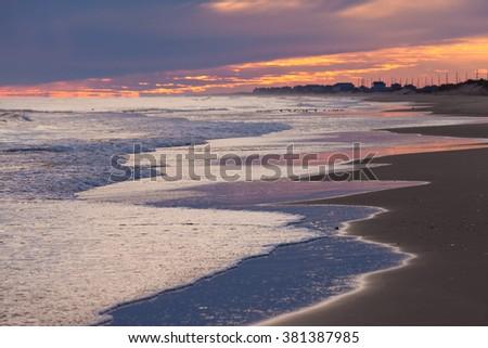 OBX Outer Banks beach sunset sky, North Carolina, NC, USA - stock photo