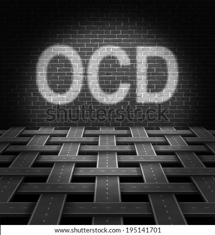 OCD concept and obsessive compulsive disorder medical symbol as a group of roads organized in a pattern hitting a brick wall with the text in light as an icon of repetitive psychological behavior. - stock photo