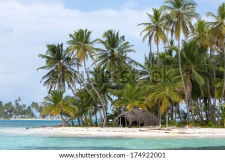 Ocean and coconut trees in San Blas Islands, Panama 2014. - stock photo