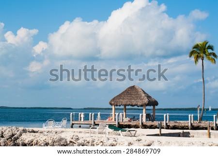 Ocean and Dock in Key largo - stock photo