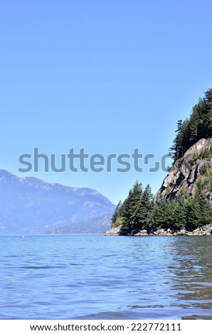 Ocean and lake scenery in Whistler BC - stock photo