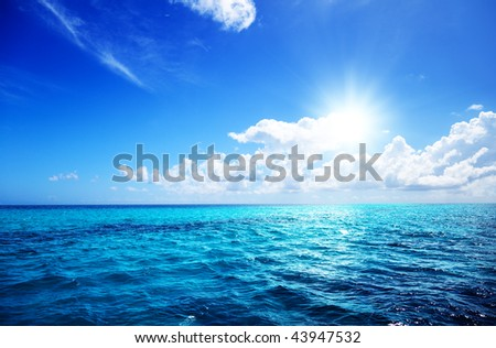 ocean and perfect sky - stock photo
