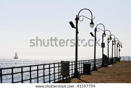 Ocean and Pier Setting - stock photo